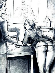 Drawing, Drawings, Cartoon, Bdsm cartoon, Spanking, Draw