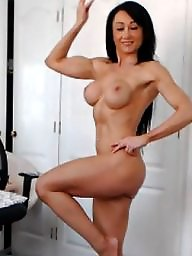 British, Muscle, Brunette milf, British milf, Muscles, Muscled