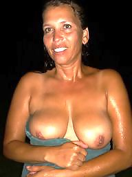 Brunette milf, Outside