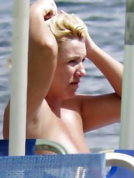 Topless, Caught, Blonde milf, Beach milf