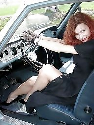 Nylons, Redhead, Nylon stockings, Nylon, Driving