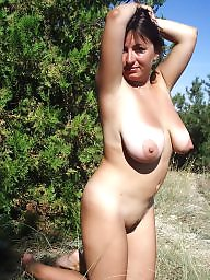 Outside, Mature boobs, Mature nude