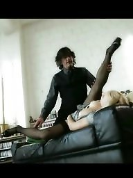Secretary, Black sex, German, Stocking sex, German blonde, Black stocking