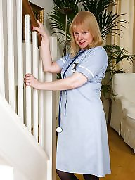 Nurse, Mature stocking, Posing, Black mature