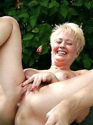 Sexy milf, Naked, Garden