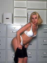Office, Blonde, Pose, Officer