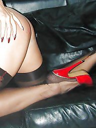 Upskirts, Milf upskirts, Red, Milf stockings, Stocking, Milf upskirt