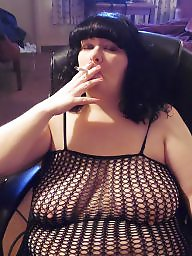 Smoking, Smoke, Show, Bbw slut, Bbw boobs