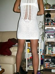 Dress, Dressed, Flash, Upskirt milf, White, Milf upskirt