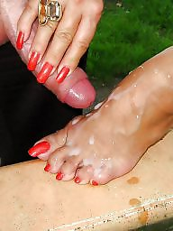 Sperm, Footjob, Stocking feet, Teen feet