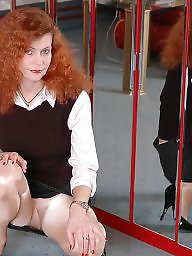Older, Pantyhose upskirt, Lady, Redhead, Upskirt stockings, Older upskirt