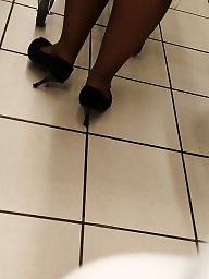 Hidden, Candid, Black stocking, Milf stocking, Cam