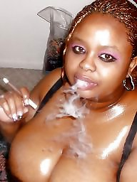 Smoking, Black, Ghetto, Amateur boobs, Smoke