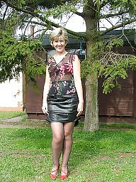 Leather, Uk mature, Stocking, Amateur mature, Mature leather