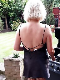 Outdoor, Slut wife, Milf stockings, Outdoors, Blonde wife, Blond wife