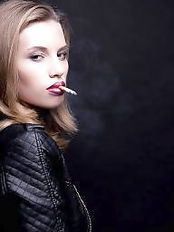 Smoking, Smoke, Teen stockings, Tit