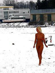 Naked, Winter, Blonde teen, Barefoot, Public teens, Naked teen