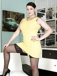 Curvy, Dress, Dressed, Black stocking, Big black, Dressing