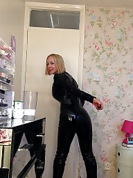 Leather, British, Blonde, British milf, Milf leather, Milf tits