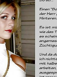 Femdom, Captions, Stocking, German, German caption