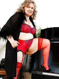 Chubby, Chubby mature, Mature chubby, Mature stockings, Red, Chubby stockings