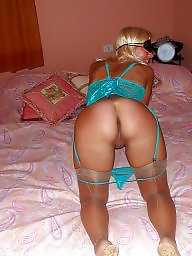 Blonde milf, Bed, Blindfold
