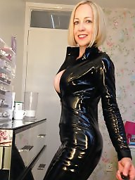 Leather, British, Blonde milf, British tits