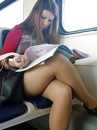 Nylon, Nylons, Candid, Leg, Legs, Train