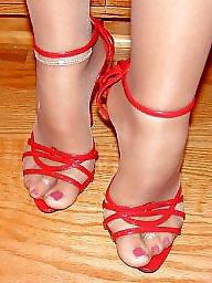 Heels, Red, Stockings heels, Stockings