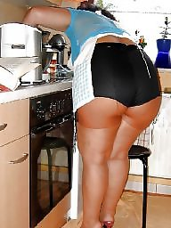 Fat, Old, Housewife, Kitchen, Fat mature, Big butt