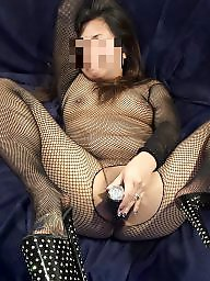High heels, Fishnet, Asian milf, Asian slut, Milf stockings, Milf asian