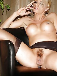 Smoking, Stockings, Smoke, Busty milf, Amateur stockings