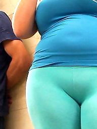 Curvy, Spanish, Tights, Candid, Curvy ass, Blue