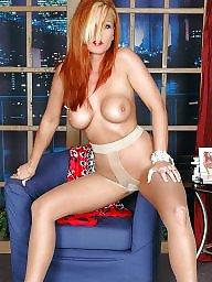Mature redhead, Mature stockings, Redhead mature