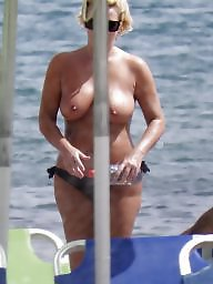 Caught, Topless, Voyeur beach, Beach milf