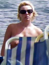 Caught, Topless, Beach milf, Beach topless, Voyeur beach