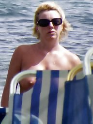 Caught, Big boobs, Topless, Beach milf