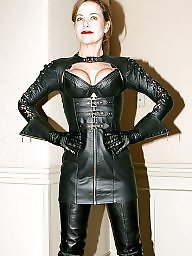 Leather, Milf upskirts, Milf in leather