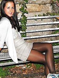 Stocking, Street, Amateur stockings, Nylon upskirt