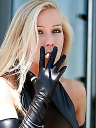 Leather, Gloves, Black, Dressing, Mini dress, Black stocking