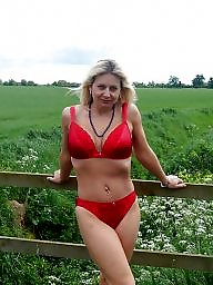 Panties, Outdoor, Panty, Mature panties, Blonde mature, Red
