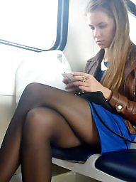 Nylon, Legs, Leggings, Candid, Train, Crossed legs