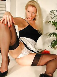 Vintage, Nylon, Maid, Older, Nylons, Mature nylon
