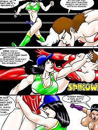 Comics, Comic, Catfight, Cartoon lesbian