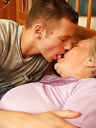 Old granny, Kissing, Old young, Mature boy, Boys, Young