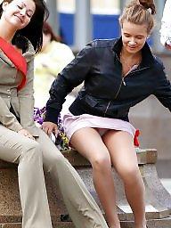 Skirt, White panties, Up skirt, White