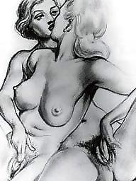 Vintage, Erotic, Drawing, Drawings, Draw
