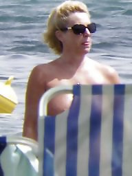 Caught, Topless, Beach milf, Beach topless, Voyeur beach