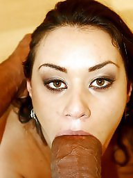 Sucking, Facials, Interracial blowjob, Women