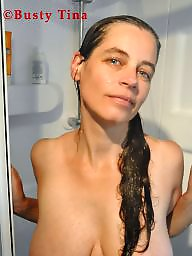 Shower, Boobs, Busty milf, In the shower